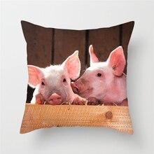 Fuwatacchi Cute Animal Painting Cushion Cover Pig Owl Zebra Throw Pillows Case Sofa Bed Decor Home Decorative
