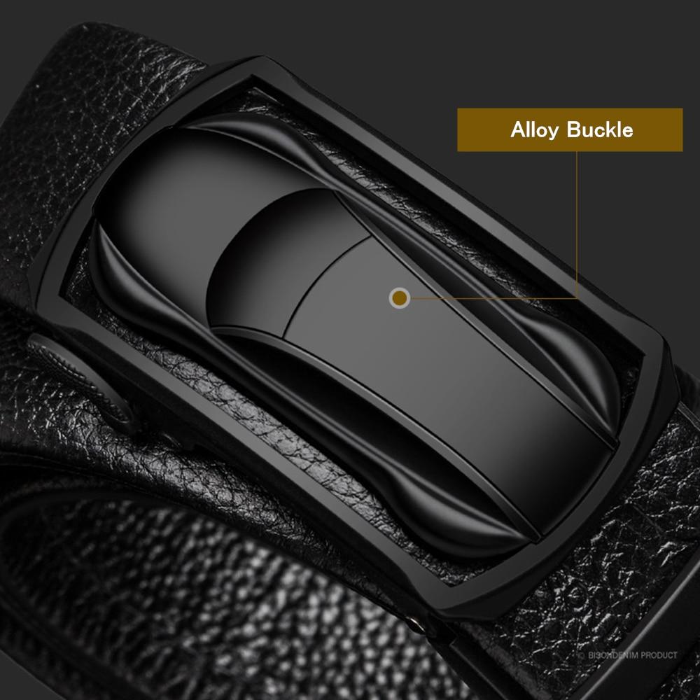 Image 4 - BISON DENIM Genuine Leather Male Belt Black Luxury Strap Belts for Men Cowskin Classic Fashion Pin Buckle men belt N71396Mens Belts   -