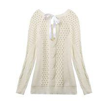 Women Long Sleeve Knitwear Clubwear Backless Tops Coat Jacket Hollow Sweater