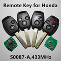 Car Remote Key 433MHz for Honda Civic Stream (Model: Valeo S0087-A)