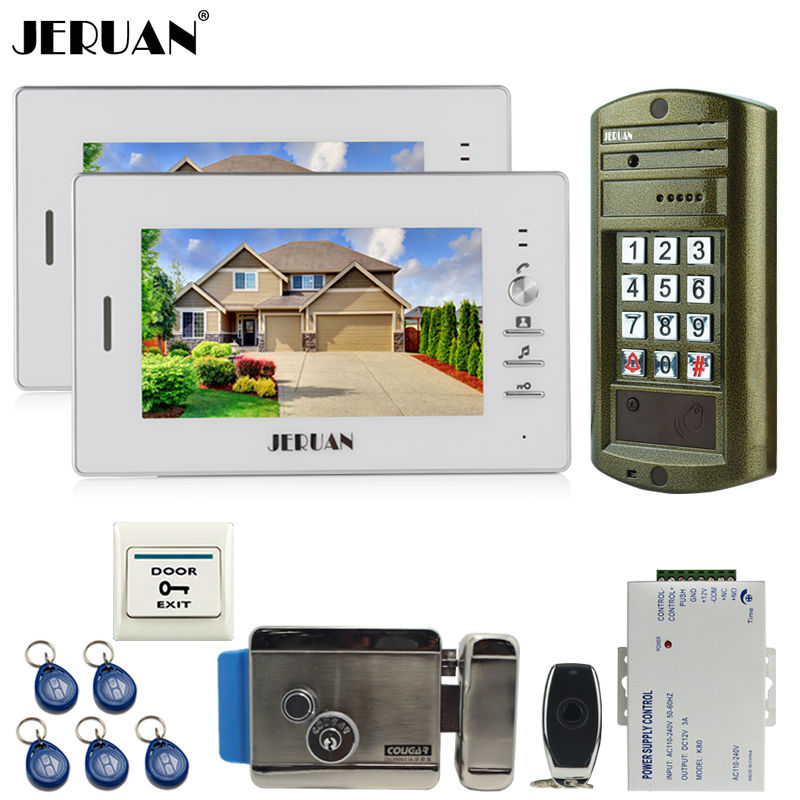 JERUAN 7 inch video door phone intercom system kit 2 White Monitor +NEW Metal waterproof password keypad HD Mini Camera +E-lock jeruan 8 inch tft video door phone record intercom system new rfid waterproof touch key password keypad camera 8g sd card e lock