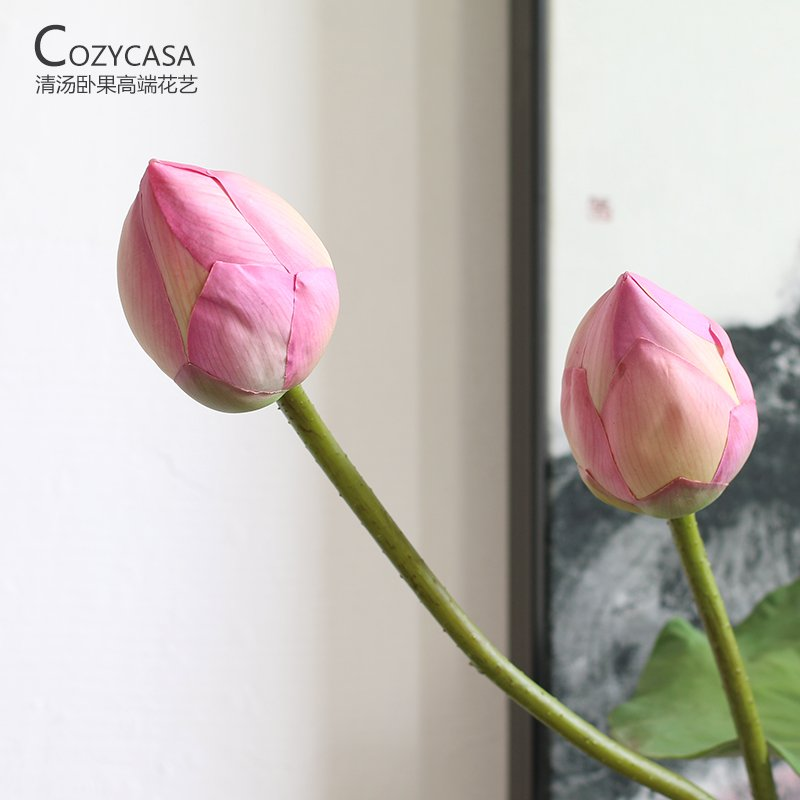 Hanbaoyufang home decoration living room simulation flower flower buds decorated decorative flower Juanhua hot sale room decoration silk mini simulation flower tulip
