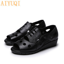 AIYUQI Women flat sandals 2019 new summer ladies leather peep toe casual Comfortable mom cow Hole shoes
