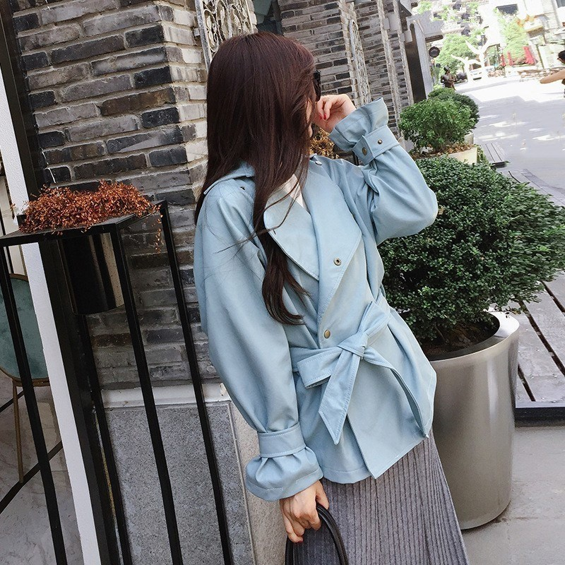 Autumn Winter Women Solid Color Pu   Leather   Coat Shrink Waist Casual Jacket Turn-Down Collar Slim Lace Up Pu Jacket