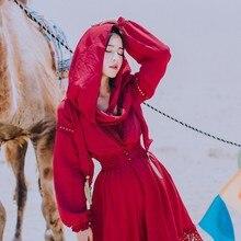 TANG Spring Summer Indie Folk Deep V-Neck Dress Elegant Hollow Out Long Sleeve Slim High Waist Sundress