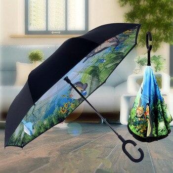 Paraguas de dibujo de Totoro reverso para Mujer, Paraguas de Ghibli, sombrilla...