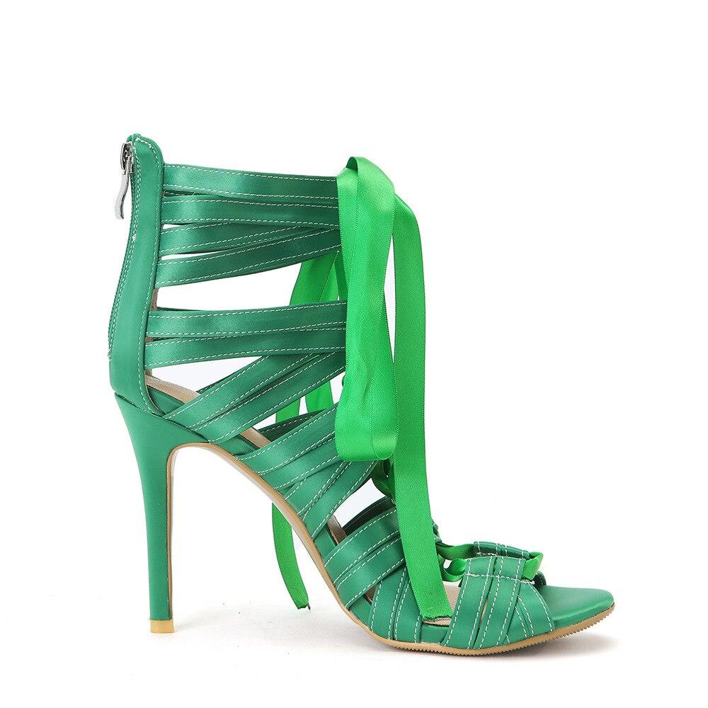 Vendaje Botas Gladiador Tacón Corbata Vestido Cruz Green Satén Verano Alto Verde Correas De Mujer Zapatos Sexy Sandalias wF84q1xz7