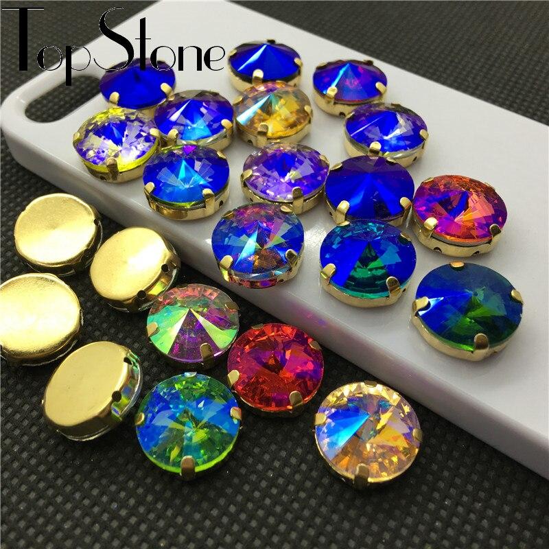 Všechny barvy AB šité na křišťálově ozdobném kameni Rivoli Crystal se zlatým drápem Nastavení 6mm 8mm, 10mm, 12mm, 14mm, 16,18mm Korálky Rivoli Beads