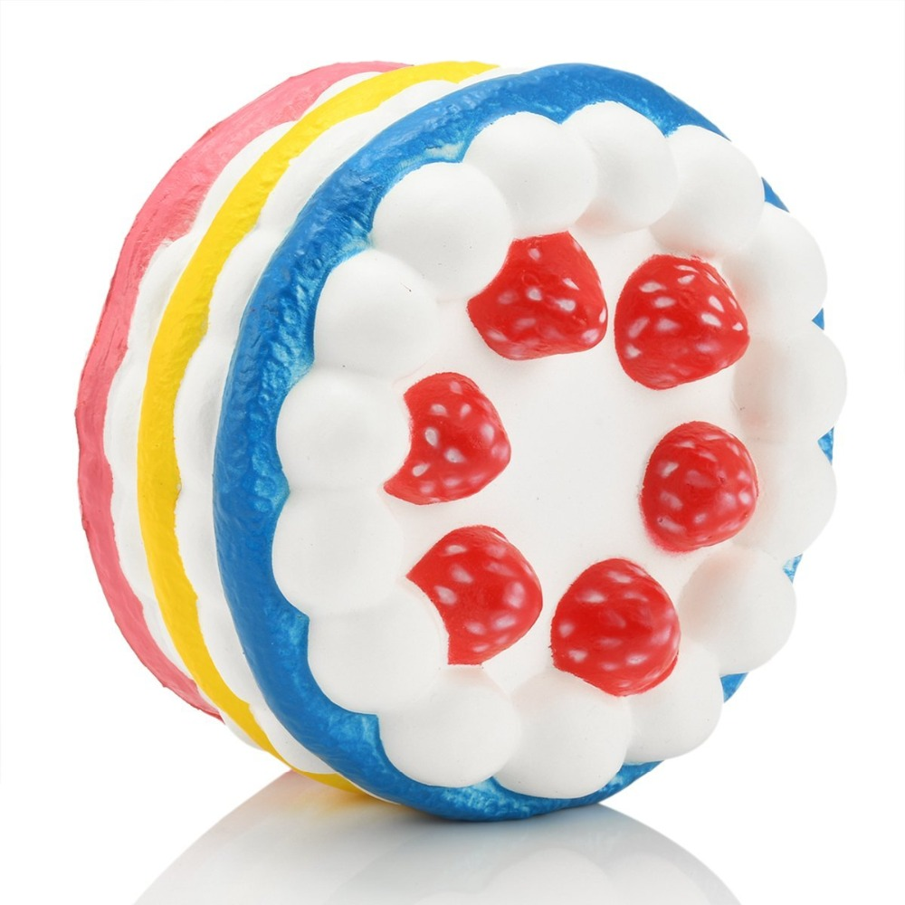 HOT Cheap Decompress Toys Cute Strawberry Cake Squishy Slow Rising Kids Children Stress Toys 6 colors