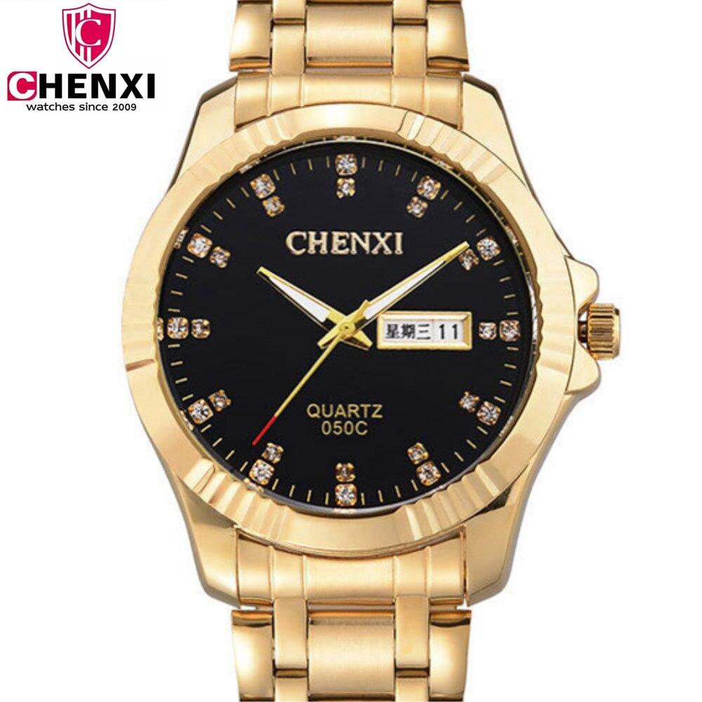 NATATE Men All gold CHENXI Luxury Business Watches Watch Slim Quartz Stainless steel waterproof The calendar Watch 2 Colors 1240 2016 chenxi calendar gold quartz watch