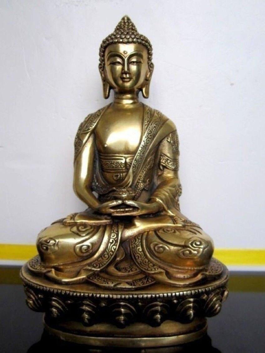 Elaborar Chinês Buddhis Tibetano Amitabha bronze buddha estátua escultura