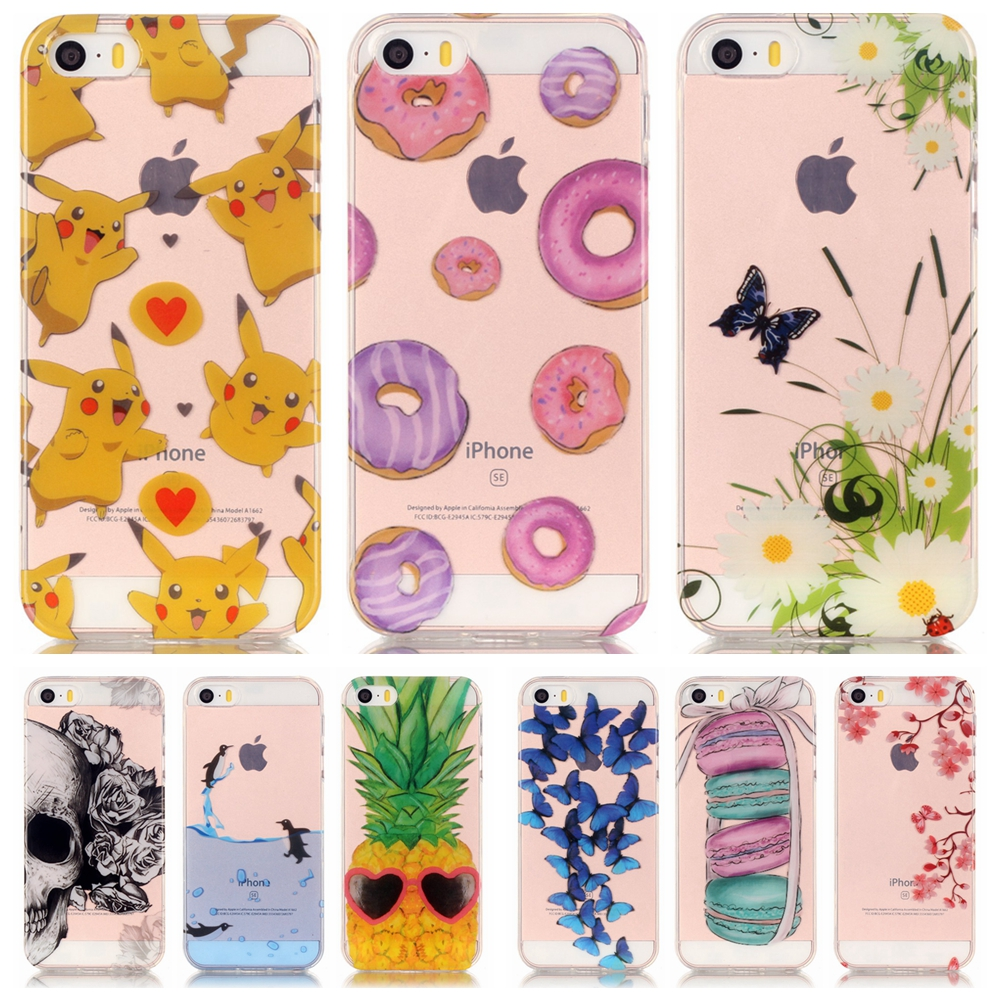 Transparent Soft TPU Phone Case for Apple iPhone 5 5S SE 5SE iPhone5S Daisy Butterfly Donuts Silicon Back Cover Skull Cases