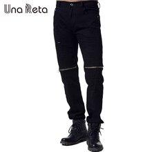 Una Reta 2017 New Streetwear Hosen Männer Plus Größe Mode Zerrissenen Jeans Männer Marke Hip Hop Schwarz Reißverschluss Dünne Hosen