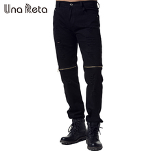 Una Reta New Streetwear Pants Men'S Plus Size Straight trousers Fashion Ripped Jeans Men Brand Hip Hop Black Zipper Slim Pants