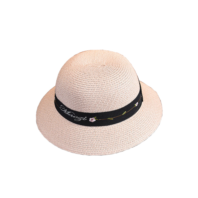7b5fdbf8 2018 Summer Straw Hat Women Wide Brim Lady Floral Letter Beach Casual Sun  Hat