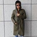 Genuine Fur Winter Leather Coat Women Warm Double-faced Fur Coat Jacket Zipper Double-sided Wear Outwear Female Real Fur Coat