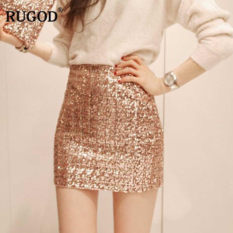 78447dacf46f RUGOD 2018 New Arrival Bright Sequined Mini Pencil Skirt Women Slim High  Waist Skirt Zipper Bodycon