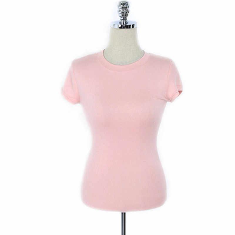 Плотно новый на лето и весну женские футболки повседневные футболки Femme футболки хлопковая Футболка розовый тонкий топ с коротким рукавом женские футболки джокер