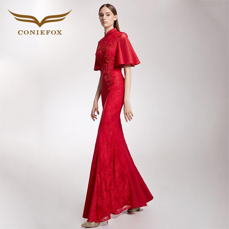 CONIEFOX 32295 red vintage embroidery mermaid Ladies elegance ...
