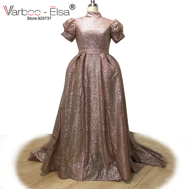 Varbooelsa Luxury Ross Gold Floor Length Evening Dress Sequined