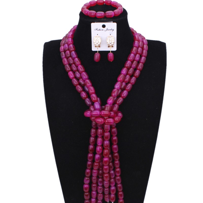 Dudo Bridal Jewelry Set Fuchsia Hot Pink African Wedding beads Necklace Set of Jewelry Crystal Jewellery Set 2018 Free Shipping