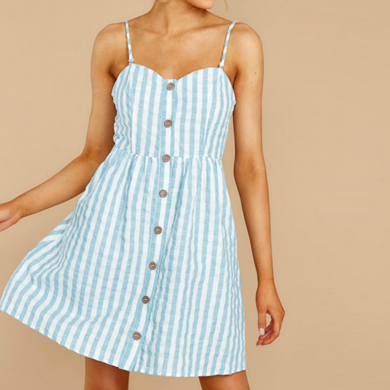 Casual Retro Summer <font><b>Dress</b></font> <font><b>Women's</b></font> Clothing 2019 Boho Sling <font><b>Sexy</b></font> <font><b>Dresses</b></font> Button Backless Stripe Mini Beach <font><b>Dress</b></font> Female <font><b>Pink</b></font>/<font><b>Blue</b></font> image
