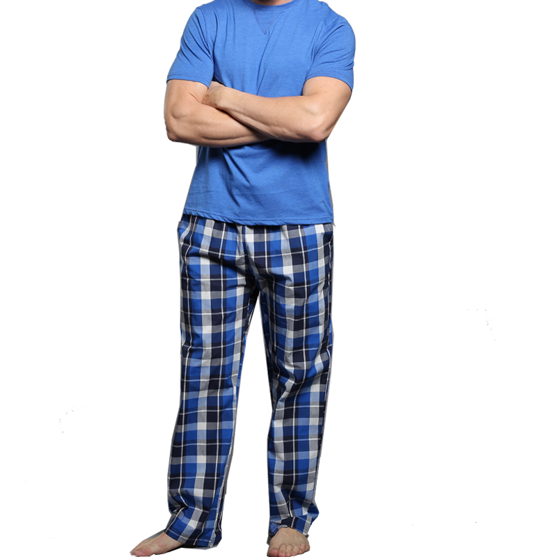 Men's Pajamas summer short Sleeve Cotton Pyjamas Trousers Mens sleepwear Lounge  Sleep Pajama Set