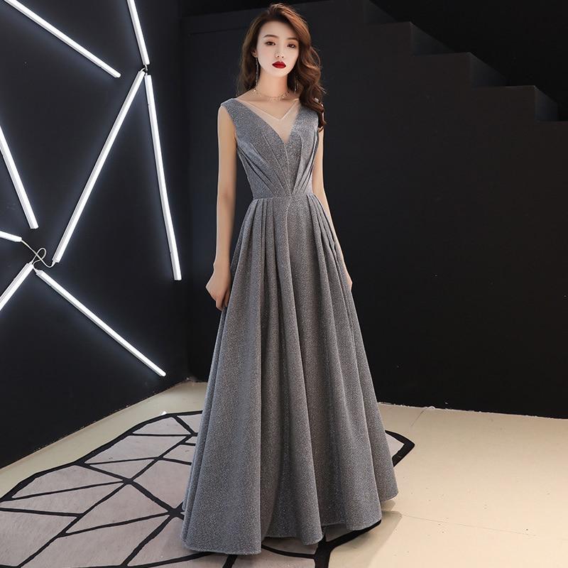 VENFLON 2019 femmes robe d'été formelle Sexy col en v Sequin longue robe de soirée dame élégante demoiselle d'honneur balle Gwon Maxi robe pas de ceinture