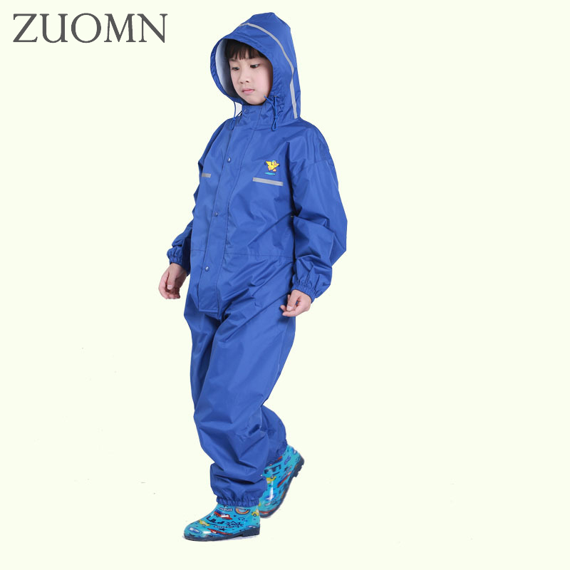 Kids Nylon Conjoined Thin pants waterproof baby kids raincoats for girls boys children Raincoat Rainwear Rainsuit with hat YL376