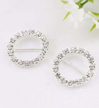 20 pcs Silver Plated Crystal Rhinestone Round Buckle 20MM 0704