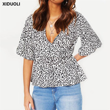 Leopard Print Deep V-neck Short Sleeve Chiffon Shirt Ladies Tops