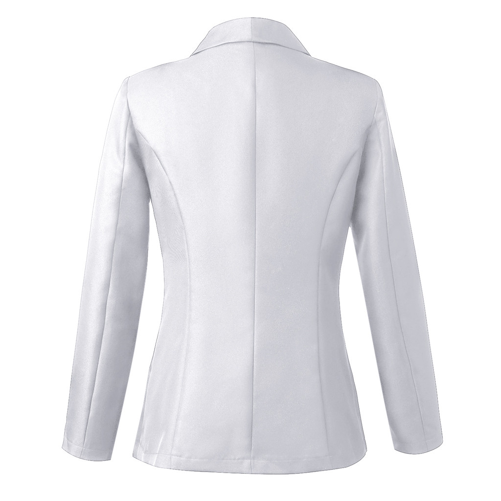 HTB1VuJraUY1gK0jSZFCq6AwqXXaQ 30#Feminino Women White Long Sleeve Open Front Cardigan Suit Jacket Work Office Knit