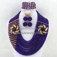2019 New Purple Crystal Beads Nigerian Wedding African Crystal Beads Jewellery Sets Crystal Bridal Jewelry parure WS4175