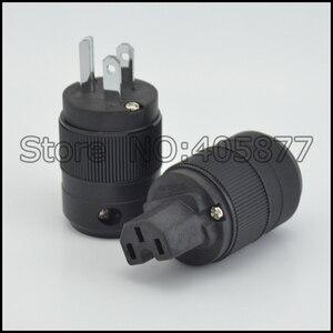 Image 2 - Unprint çift Yüksek Son Rodyum Kaplama ABD priz ve IEC Konnektör fişi 1 çift ABD güç terminali DIY güç kablosu fiş konnektörü