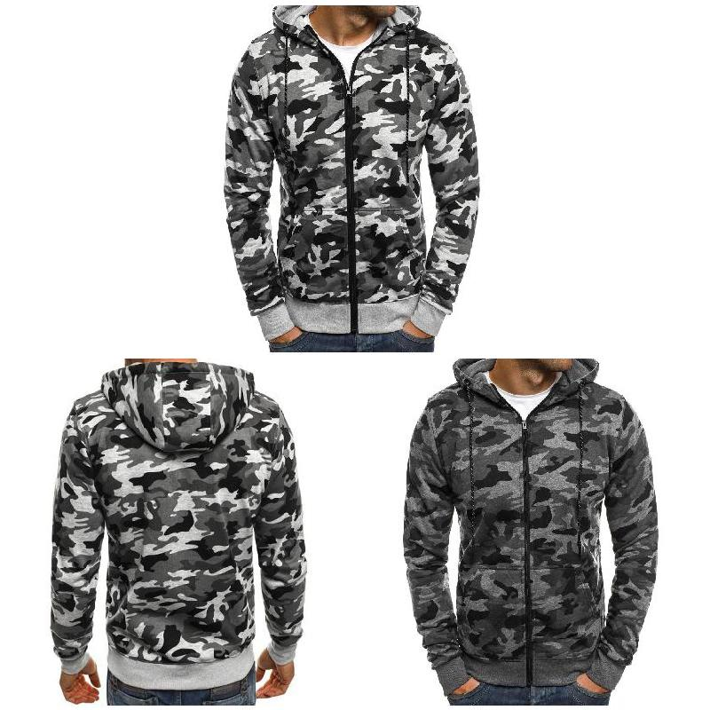 Man Autumn Casual Hoodie Sweatshirt Zip Up Long Sleeve Camouflage Men Cotton Loose Overcoat  Plus size FS99