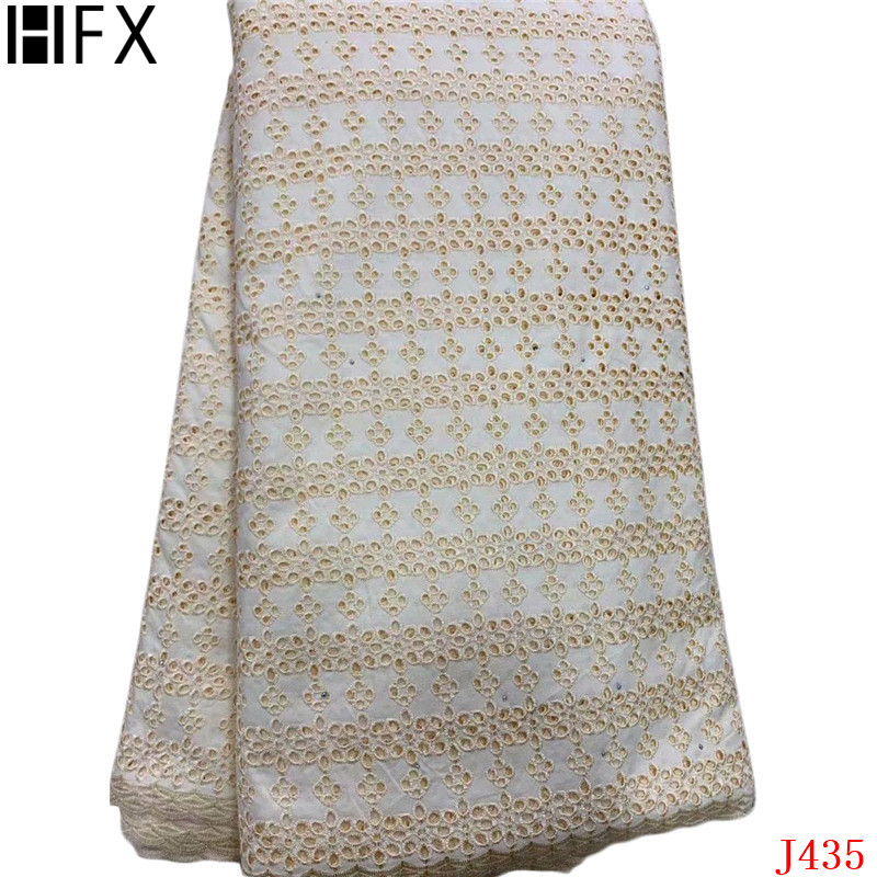 HFX Nigerian Lace Fabrics Beige High Quality Swiss Voile Lace 2019 Embroidery Cotton 5 Yards African Lace Fabric for Women L435HFX Nigerian Lace Fabrics Beige High Quality Swiss Voile Lace 2019 Embroidery Cotton 5 Yards African Lace Fabric for Women L435