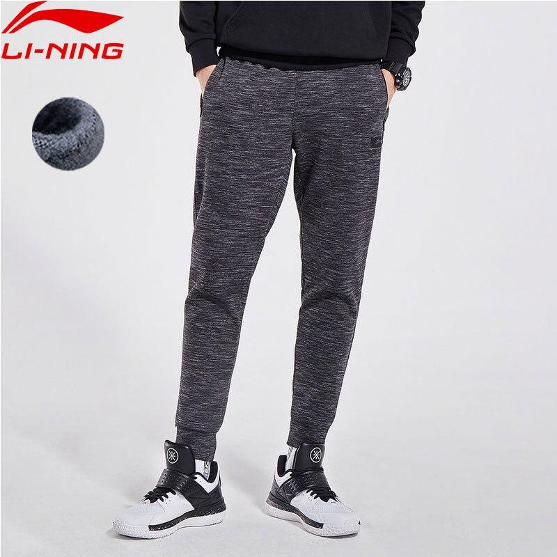 Li Ning Men Basketball Series CBA Sweat Pants Warm Fleece 72 Cotton 28 Polyester Regular Fit
