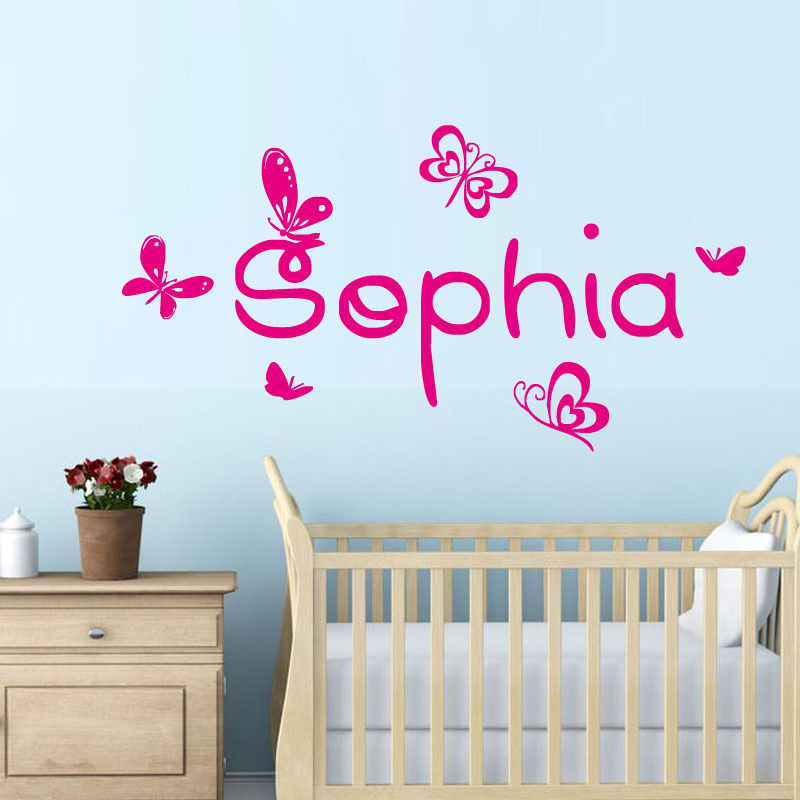 Baby nursery wall decal butterfly butterflies vinyl wall for Baby room sticker decoration