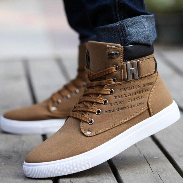 Hot 2018 Primavera Autunno Lace-Up Scarpe di Tela degli uomini di Grande Formato Uomo Fibbia Casual Caricamenti del Sistema Della Caviglia di Modo di Inverno scarpe di cuoio del Mens Appartamenti