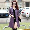 Новый кожаный женщины Ветровка долго траншеи пальто Корейский локомотив кожаные женские весна кожаная куртка