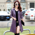 New leather women Windbreaker  long  trench coat Korean locomotive leather ladies spring leather jacket