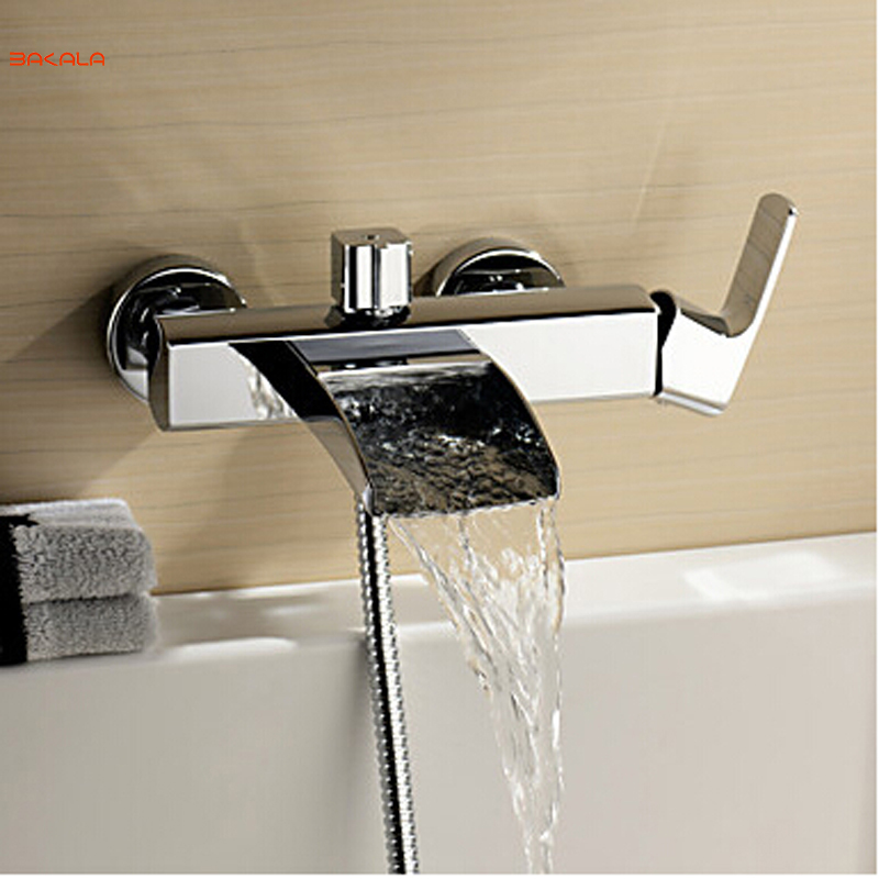 Free shipping Polished Chrome Finish New Wall Mounted Waterfall Bathroom Bathtub Handheld Shower Tap Mixer Faucet LH-8005 free shipping high quality bathroom toilet paper holder wall mounted polished chrome