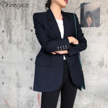 Navy Women Blazers And Jackets 2020 New Spring Autumn Fashion Single Button