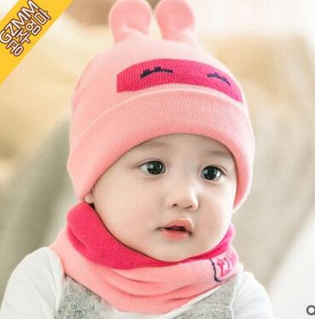 54b4b7b5819 6-24 Month New Cute Rabbit Baby Boys Girls Knitting Hat Bib Sets Children  Hats Beanies Sets Newborn Caps Sets Kids Accessories