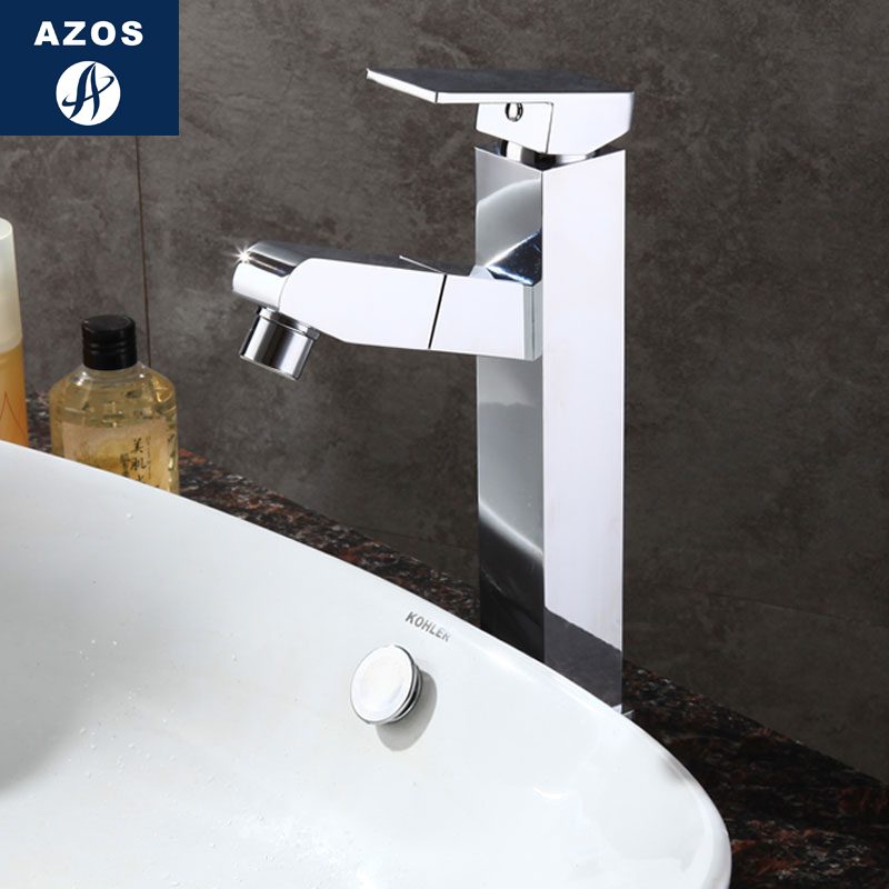 Azos Basin faucet Pull-out Wash Basin Brass Chrome Cold and Hot Switch Two Function Kitchen Above Counter Basin Laundry Pool SquAzos Basin faucet Pull-out Wash Basin Brass Chrome Cold and Hot Switch Two Function Kitchen Above Counter Basin Laundry Pool Squ