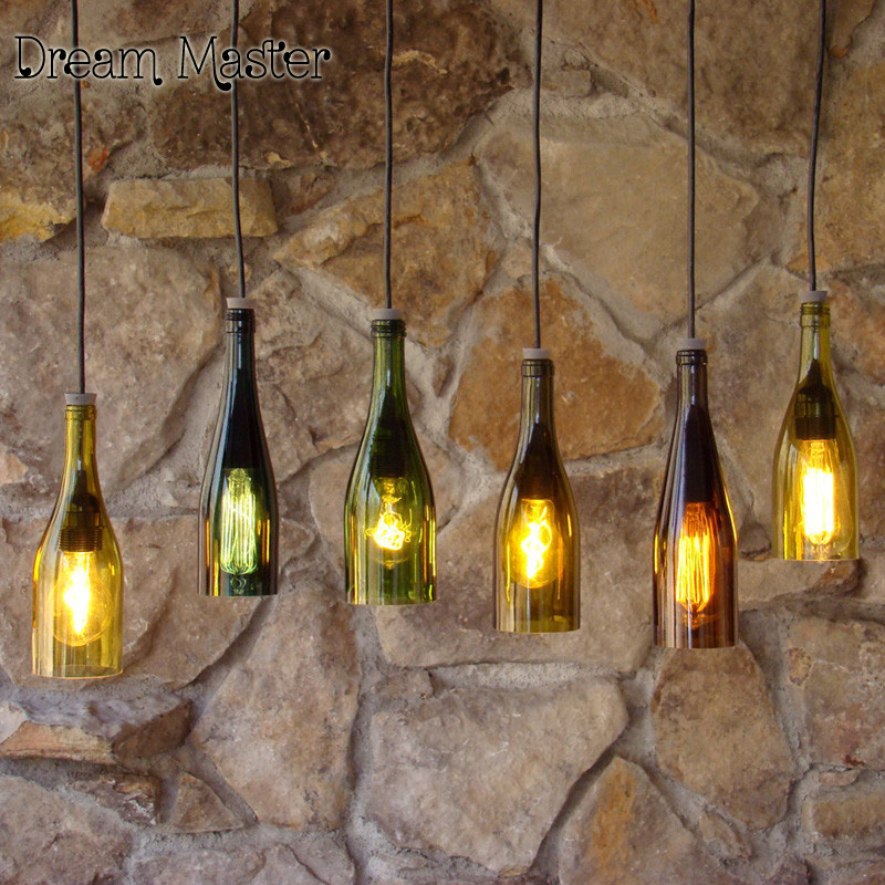 Creative simple  Cafe Bar Restaurant clothing store bottle decoration industry chandelier lantern Postage free industrial air bottle glass chandelier creative personality cafe restaurant bar counter clothing store lighting lamps