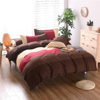 Fashion Red Coffee Color Stitching Patterns 2 3PCS Bedding Set Duvet Cover Set Bedlinen Pillowcase Queen
