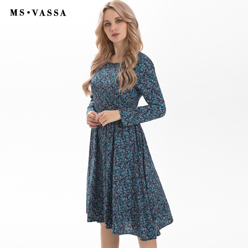 MS VASSA Clearance Sale Summer Dress Women long sleeve O neck vintage leaf print knee length loose casual ladies dress