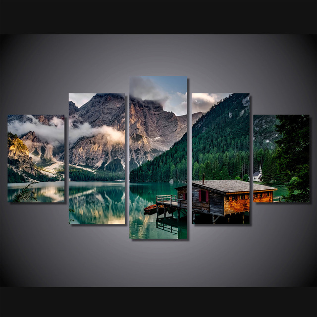 5 Pcs/Set Framed HD Printed Lake Boat Mountain Wall Pictures Canvas ...
