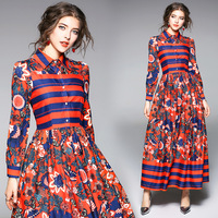 Vintage Floral Striped Long Sleeve Slim Tunic Pleated Maxi Dress Elegant Office Party Fashion Beach Dress Spring Clothing Red